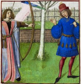 The God of LOve shootting the Lover Le Roman de la Rose. Bruges c.1490British Library, Harley MS 4425 f. 22