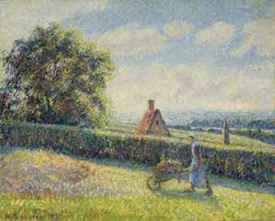 Woman Pushing a Wheelbarrow, Éragny, Camille Pissaro, 1890 Christies
