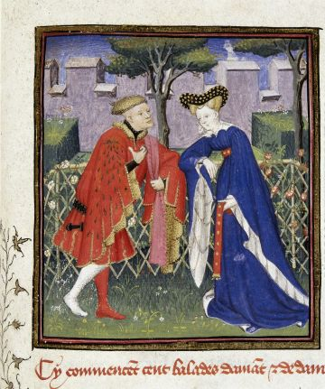 Detail of a miniature of the lover telling of his love to his lady in a garden., Christine de Pizan, Harley 4431   f. 376   Lover and lady