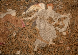 One of the 5 surviving embroidery panels, recently conserved by the Royal School of Needlework and exhibited at 2, Temple Place.