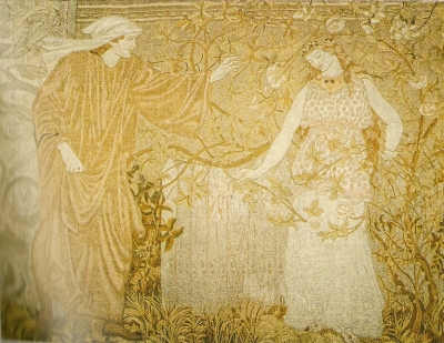 The Pilgrim at the Heart of the Rose, One of the 5 surviving embroidery panels, recently conserved by the Royal School of Needlework and exhibited at 2, Temple Place.