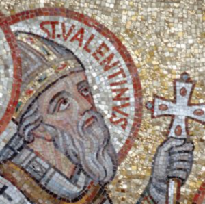 St. Valentine is seen in a mosaic in the Church of the Dormition in Jerusalem. CNS photo/Crosiers
