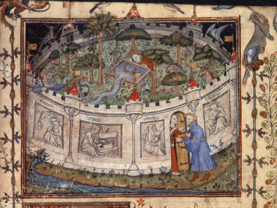 Miniature of the Lover seeking the entrance to the Garden of Pleasures, from Le Roman de la Rose, BL Egerton 1069   f. 1
