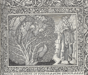 The opening page of the Parliament of Fowls, printed by William Morris at the Kelmscott Press, 1896, http://exhibitions.slv.vic.gov.au/explore-exhibition/zoom-image/final-page-romaunt-rose-and-opening-page-parlement-foules