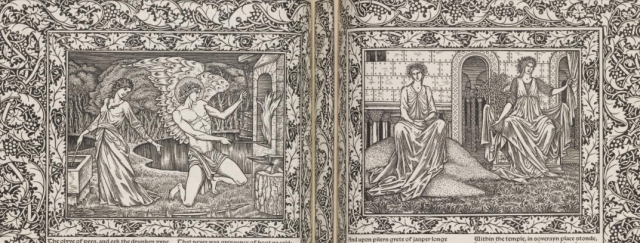 Cupid forging his arrows in the garden, and two of Venus's attendants in the garden outside her temple Drawings by Burne Jone's from Parliament of Fowls, printed by William Morris at the Kelmscott Press, 1896