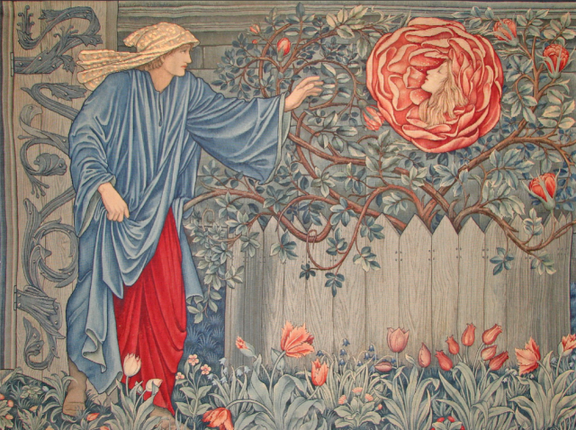 Romance of the Rose tapestry designed by William Morris, hanging in Rhodes House, Oxford