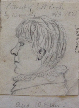 Self portrait profile head of E W Cooke aged 10 years, 1820, National Maritime Museum
