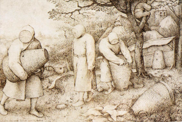 The Beekeepers and the Birdnester,  Pieter Bruegel the Elder , 1568, Staatliche Museen zu Berlin