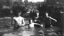 Undated photo of the family using swimming pond National Trust