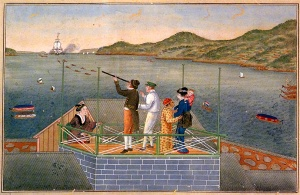 Painting by Kawahara Keiga: Arrival of a Dutch Ship. Philipp Franz von Siebold at Dejima with his Japanese wife Otaki (later: Kusumoto Otaki) and their baby daughter Ine observing a VOC-ship in the Nagasaki Bay using a teresukoppu (telescope). Peabody Museum, Essex