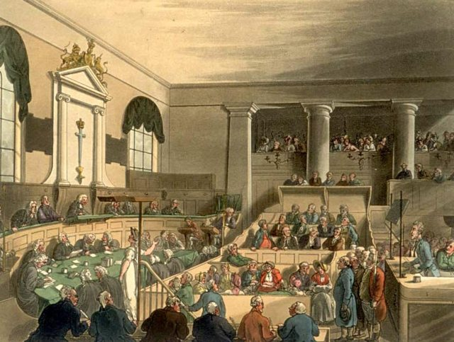 Thomas Rowlandson, The Old Bailey, from The Microcosm of London, 1808. © London Lives