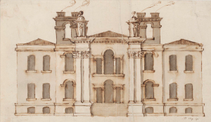 Early project for the entrance front of Eastbury Park, 1718, (Design from office of Vanbrugh), V&A