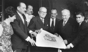 Louisette Meilland, Harry Wheatcroft, le Président Vincent Auriol, Le Sénateur Raybaud, Antoine et Alain Meilland