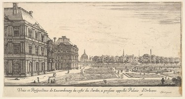 The Luxembourg Palace and garden [then known officially as the Orleans Palace], from Diverses vues d'endroits remarquables d'Italie et de France, Stefano di Bello, 1650