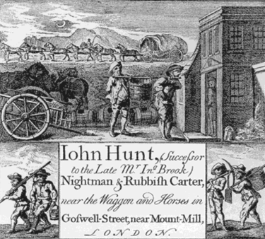 Trade card of an 18thc Night Soil Man http://www.jasa.net.au/london/sanitation.htm