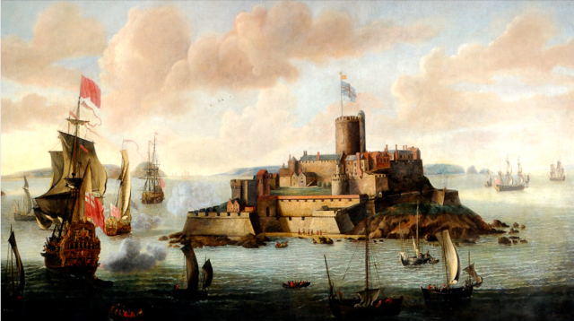 Castle Cornet before 1672 when an explosion destroyed the keep, by Isaac Sailmaker http://museums.gov.gg/castlehistory