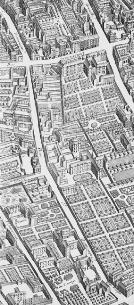 The Rue St Dominic from Turgot's map of Paris, 1738