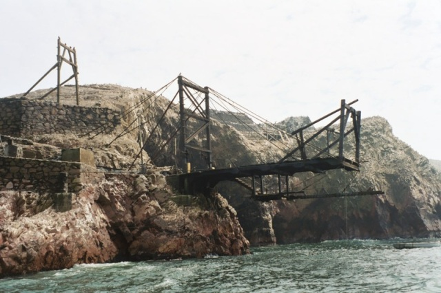 Remnant mining infrastructure on Peru's now guano-denuded islands. from https://freeassociationdesign.wordpress.com/2010/09/10/islands-and-post-peak-guano/