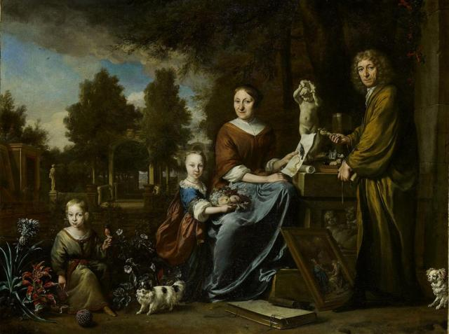 Agneta Block (Emmerich 29-10-1629 – Amsterdam 20-4-1704), and her family at their summer home Vijverhof (later called Flora Batavia), with her cultivated pineapple Jan Weemix,1694, Amsterdam Museum