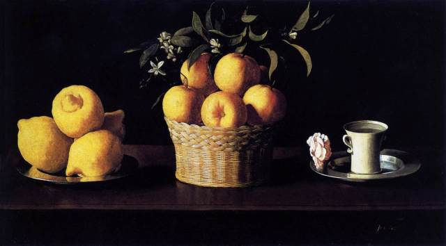 Still-life with Lemons, Oranges and Rose: Francisco de Zurbarán 1633, (Norton Simon Museum of Art, Pasadena)