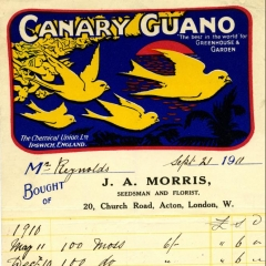 Receipt for Canary guano (used as fertiliser) supplied to Gunnersbury in 1911, from https://www.rothschildarchive.org/exhibitions/gardens/creating