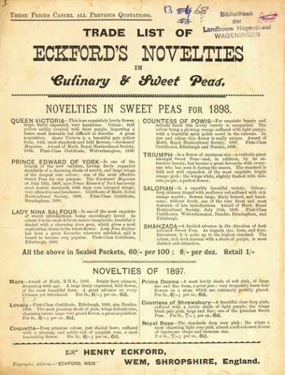 Trade list of Eckford's novelties in culinary & sweet peas. Wem (1898)