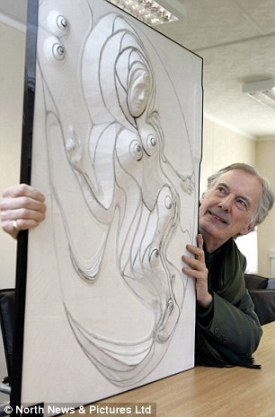 Charles Jencks with a model of the sculpture he is to draw into the land near the Blagdon Estate. http://www.dailymail.co.uk