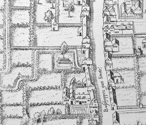 A stepped mount on Bishopsgate, from the Copperplate map c.1558