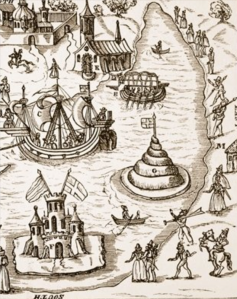 "detail of 'The Pond at Elvetham during Queen Elizabeth's visit' from 'The Honourable Entertainment given to the Queen's Majestie in Progress..."" 1591"