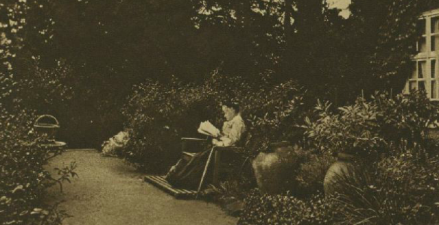 The author in her Surrey garden from Illustrated Lopndon News, 24th May 1913