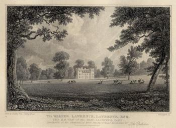 "Sandywell Park N.W. view of Sandywell Park .."" engraved by W.Radclyffe after a drawing by G.Fielding & Henry Lamb, published in Griffiths History of Cheltenham and Its Vicinity, 1838"