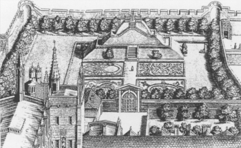 detail showing the mount at New College from David Loggan, Oxnia Illustrata, 1675