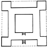 Schematic diagram of John Smythson's plan of the House-Plan Mount at Wollaton. Drawing from his article in Garden History