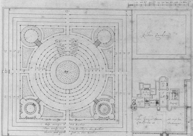 Plan of the house and gardens at Twickenham Park by Robert Smythson, 1609 Architectural Library,RIBA