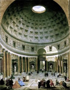 Giovanni Paolo Pannini: Interior of the Pantheon, Rome (1734) National Gallery of Art, Washington.