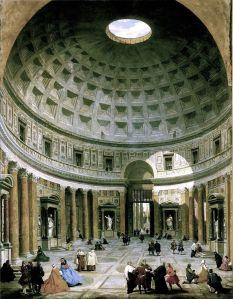 Giovanni Paolo Pannini: Interior of the Pantheon, Rome (1734) National Gallery of Art, Washington.