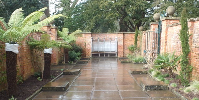 A rather wet tropical courtyard
