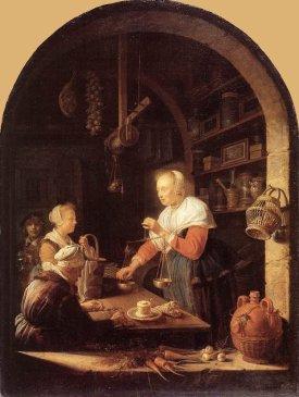 Gerrit Dou The Grocer's Shop 1647 Oil on wood, Musée du Louvre, Paris