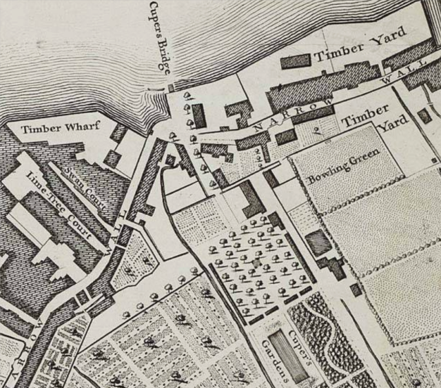 Cupers Bridge, gsrdens and Narrow Wall, Lambethdetail from John Rocque's , London Westminster and Southwark, 1746 http://www.motco.com/map/81002/imageone-a.asp?Picno=81002000