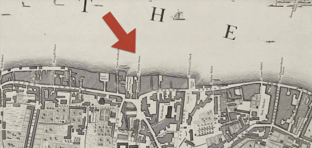 Southwark -opposite Blackfrairs and St Paul's, detail from John Rocque's , London Westminster and Southwark, 1746 http://www.motco.com/map/81002/imageone-a.asp?Picno=81002000