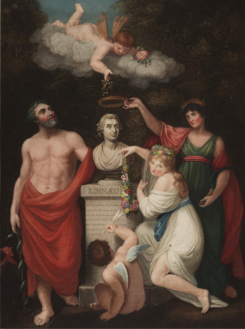 Flora, Aesculapias, Ceres with Cupid honouting the bust of Linnaeus, nby Russell & Opie