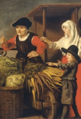 detail from Nicholaes Maes Vegetables Market (approx 1655-65), (Amsterdam, Rijksmuseum