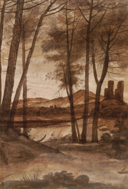 Claude Lorrain (1600 - 1682) A Grove of Pine Trees with a Ruined Tower, 1638-1639 pen and brown ink with brown, gray, and pink wash on white paper The British Museum, London
