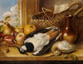 Still life with a dead jay, woodcock, fruit and vegetables and a jug , 1856 http://www.artnet.com/artists/augusta-innes-withers/still-life-with-a-dead-jay-woodcock-fruit-and-sycVOOAM0x7w2iBw5QGwnA2
