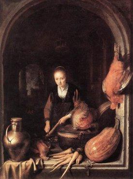 Gerrit Dou Woman peeling carrot 1613-1675, Oil on wood,Staatliches Museum, Schwerin
