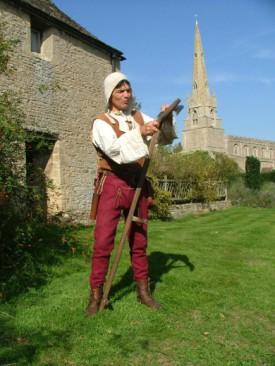 The Histroic Gardener sharpening his scythe at the Prebendal Manor, Nassington https://historicgardener.wordpress.com