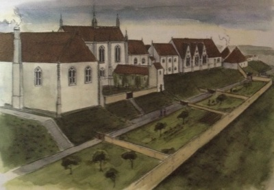 Reconstruction of the north facing mediaeval gardens at Clarendon, by Philip Marter for RCHM 1994 taken from Clarendon Landscape of Kings.