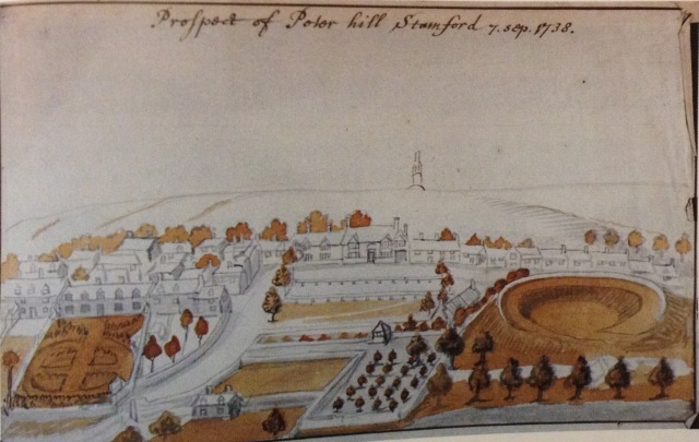 A view of Stamford by Stukeley. The rectory is in the centre, the Hermitage aon the left and the motte of Stamford castle on the right. Spalding Gentleman's Society