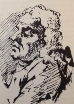 Stueley dozing during the Avebury investigations, 1722sketch by Gerard Vandergacht from Stuart Piggott William Stueley, 1985