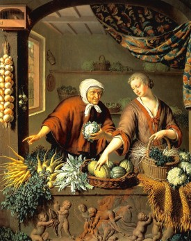 Willem van Mieris The Greengrocer(1731) Oil on wood, 40 x 34 cm. Wallace Collection, London - right